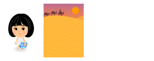 手持ち宝石サファイア・背景:砂漠のキャラバン夕