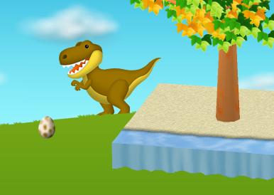 背景にティラノサウルスが現れます