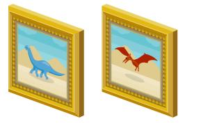 絵画額ブラキオサウルス・絵画額プテラノドン