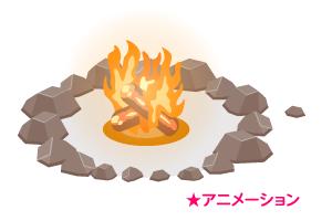 動く石囲みたき火