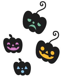 ウォールデコかぼちゃ緑・ウォールデコかぼちゃ黄・ウォールデコかぼちゃ桃・ウォールデコかぼちゃ青