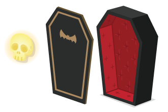 ウォールランプガイコツ・クラシック棺桶:ふた・クラシック棺桶