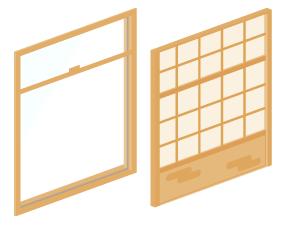窓ガラス薄茶・障子