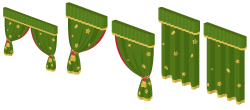 カーテン緑×金開小窓用・カーテン緑×金開1・カーテン緑×金開2・カーテン緑×金閉1・カーテン緑×金閉2