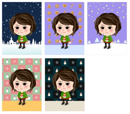 雪の街・クリスマスクッキー・夜明けの星空・スノーマンピンク・スノーマンネイビー