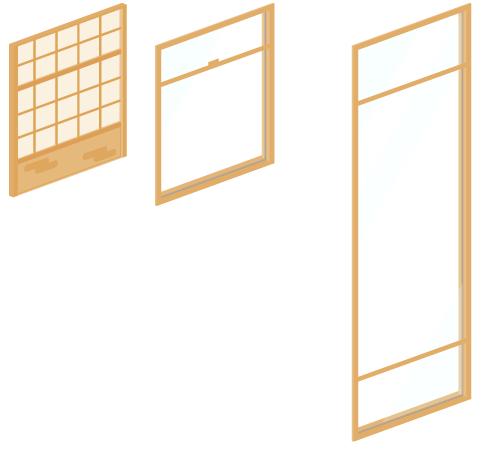 障子・窓ガラス薄茶・窓ガラス薄茶ロング