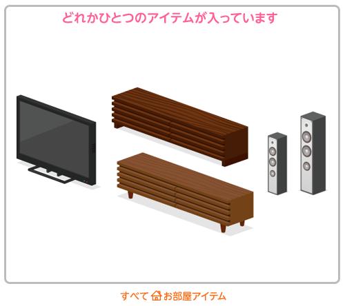 部屋袋テレビボード