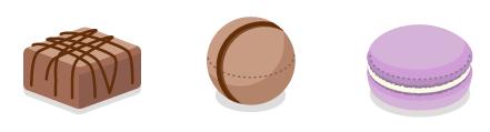 トリュフクッションE・トリュフクッションF・マカロンクッション紫芋
