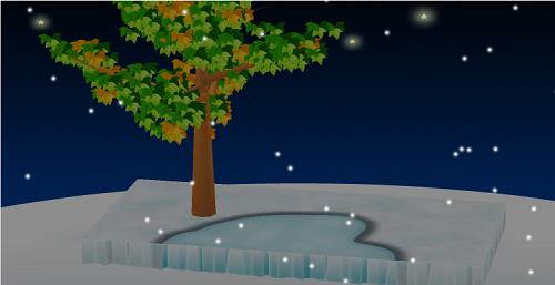 氷の世界シートで大地機能を有効にした庭