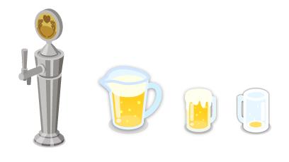 ビールサーバー注ぎ口・居酒屋ビールピッチャー・居酒屋ジョッキ生・居酒屋ジョッキ生空