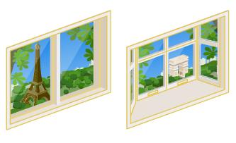 パリの街が見える小窓・パリの街が見える出窓