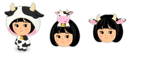 牛着ぐるみ・頭のせ牛・牛の角と耳