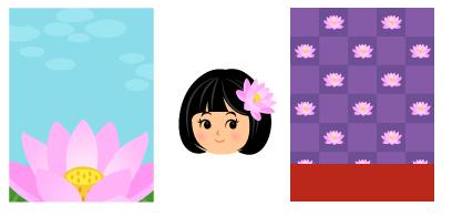 背景:蓮の花の上・ハスの花の髪飾り・背景:市松蓮