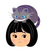 頭のせチェシャ猫