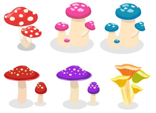 親子ドット柄キノコ・太軸キノコピンク・太軸キノコブルー・二本キノコ赤・二本キノコ紫・ろうと傘キノコ