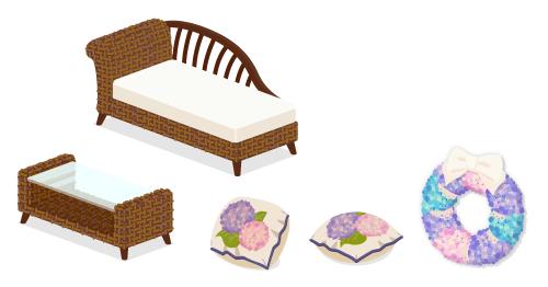 ラタン寝椅子・ラタンローテーブル・あじさいクッション立掛・あじさいクッション平置き・あじさいリース