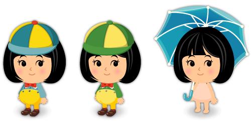 トゥイードルダム青服・トゥイードルディー緑服・トゥイードルダムの大きな傘