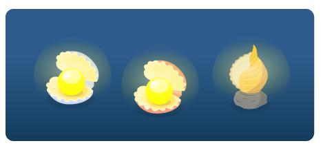 真珠貝ライトブルー・真珠貝ライトオレンジ・巻貝ライト