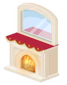 暖炉の上の鏡