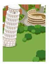 背景:イタリアの風景