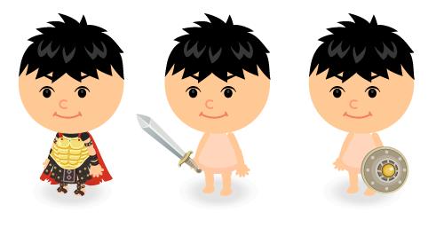 古代ローマ剣闘士衣装・剣闘士の剣・剣闘士の盾