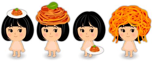 頭のせスパゲッティ皿・スパゲッティ帽子・手持ちスパゲッティ皿・スパゲッティヘア