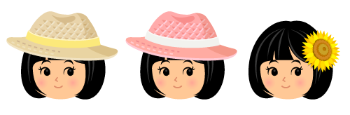麦わら帽ナチュラル×黄・麦わら帽ピンク×白・ひまわりヘアピン