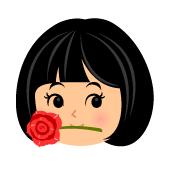 口にくわえたバラ