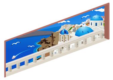 ギリシャの海岸が見える窓小