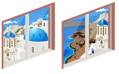 ギリシャの海岸掃出し窓A・ギリシャの海岸掃出し窓B