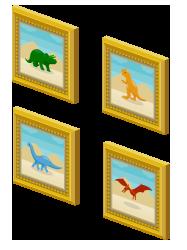 絵画額ブラキオサウルス・絵画額プテラノドン・絵画額トリケラトプス・絵画額ティラノサウルス