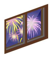 湖上大花火の小窓