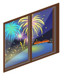 湖上大花火の掃出窓