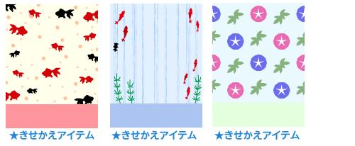 背景:金魚 水玉・背景:金魚 ストライプ・背景:朝顔 赤と青