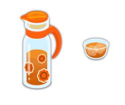 麦茶ポットオレンジ・麦茶グラス
