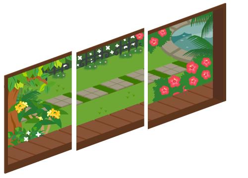 夏の庭が見える三連窓1・夏の庭が見える三連窓2・夏の庭が見える三連窓3