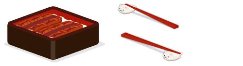 うな重特上・猫箸置きセット・猫箸置きセット下向き