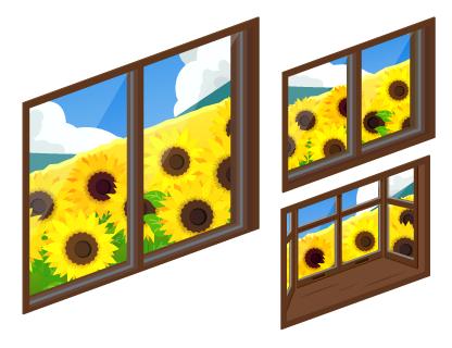 ひまわり畑の掃出窓・ひまわり畑の小窓・ひまわり畑の出窓