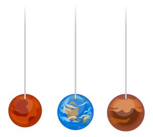 吊り下げバルーン金星・吊り下げバルーン地球・吊り下げバルーン火星