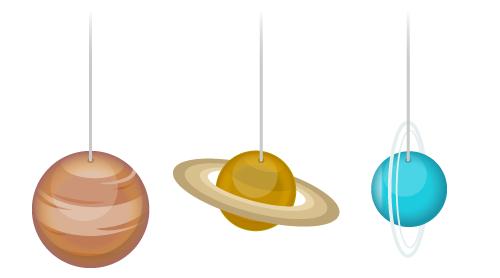 吊り下げバルーン木星・吊り下げバルーン土星・吊り下げバルーン天王星