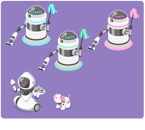 お掃除ロボブルー・お掃除ロボミント・お掃除ロボピンク・お手伝いロボ・ロボット犬ピンク