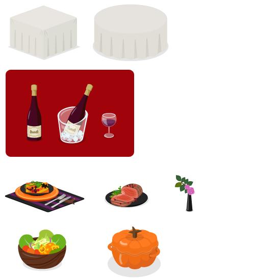 クロス付きテーブル・クロス付きテーブル丸・ワインボトル 赤・ワインクーラー・ワイングラス 赤・ハロウィンディナー・ローストビーフ黒皿・一輪挿しミニバラ・パンプキンサラダボウル・ほうろう鍋パンプキン