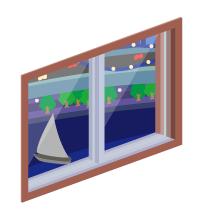 ニューヨーク市街が見える小窓