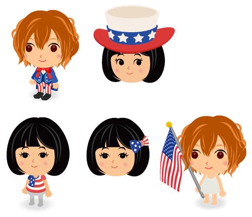 アンクル・サム衣装・アンクル・サム帽子・USA国旗Tシャツ・USA国旗ヘアリボン・手持ちUSA国旗