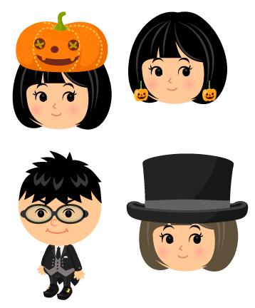 かぼちゃランタン帽子・かぼちゃピアス・燕尾服コウモリ靴セット・シルクハットグレー