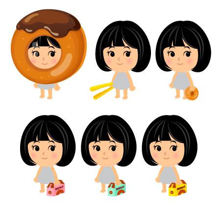 チョコドーナッツかぶりもの・ドーナッツトング・手持ちドーナッツ・ドーナッツボックスピンク・ドーナッツボックス青・ドーナッツボックス黄