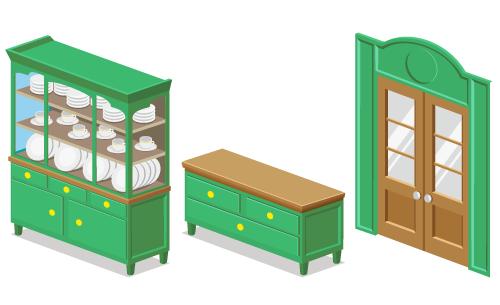 カントリー緑食器棚・カントリー緑チェスト・カントリー緑両開きドア