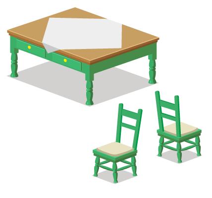 カントリー緑テーブル・カントリー緑チェア・カントリー緑チェア背
