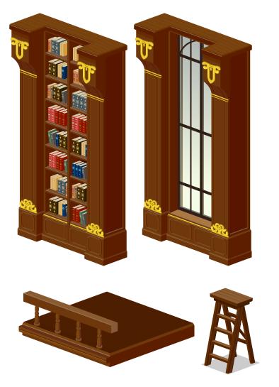 図書館本棚壁・図書館窓・図書館通路・図書館用脚立