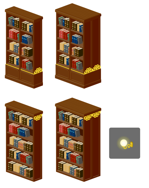 図書館書架A・図書館書架A両面・図書館書架B・図書館書架B両面・レトロ風壁面ライト